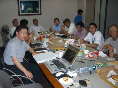 with various food processing professionals